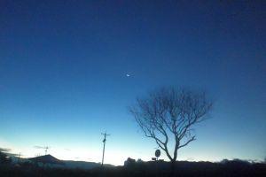 night contrast moon dawn blue sky