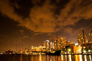 night lights skyline riverside night toronto background night life