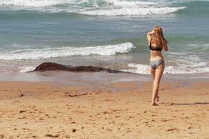 ocean sea girl people everyday fun sand bikini holiday beach