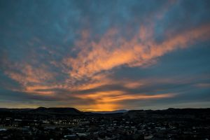 orange beautiful scenic blue color sky clouds sunset