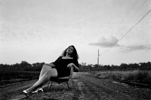 person adult woman people black and white