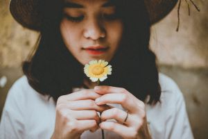 person beautiful girl lifestyle flower wear young blur child hair