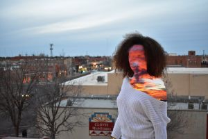 photoshoot gray exposure afro new mexico rooftop young model female model double exposure photoshop