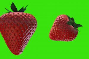 red 3d model fruit green screen