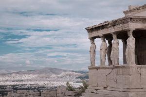 religion sculpture monument athens history acropolis clouds column culture sky