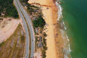 resort beach houses water seashore waves high summer sand urban