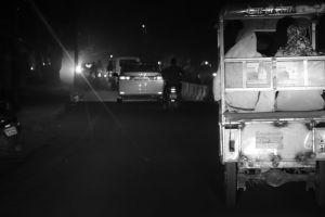 rickshaw highway black and white road