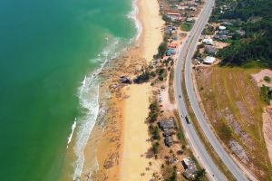 sea shore waves houses seascape seashore roads sand highway architecture