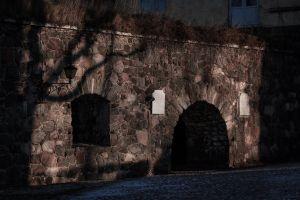 shadows walls stonewall sunset