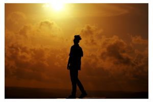 sky dark sunrise backlit scenery man idyllic scenic golden hour person