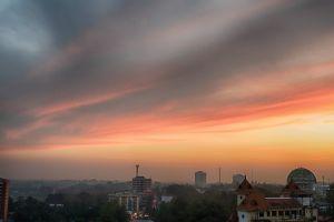 sky evening sky clouds city