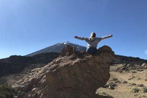 sky teide crazy girl vulcano extreme spain park blue sky women