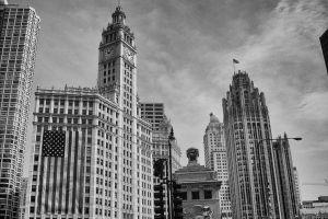 skycrapers chicago magnificent mile michigan avenue city black and white