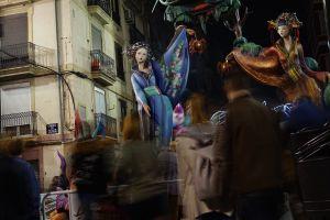 spain statue fallas valencia festival fallas valencia night