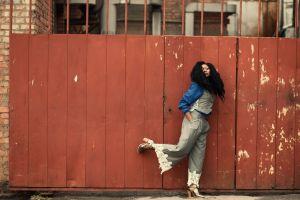standing blue urban daylight photoshoot girl pose daytime lady model