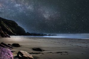 stars ocean sand water cliffs night landscape sea evening night sky
