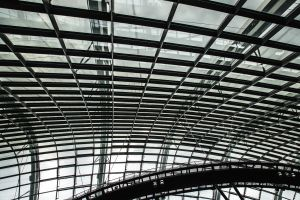 steel ceiling architecture perspective gardens by the bay black and white building singapore architectural design black-and-white