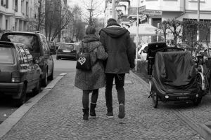 street people couple walking berlin young couple black and white in love