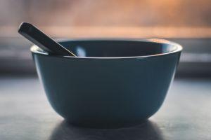 sunrise bowl close-up minimalism utensil container spoon blur meal focus