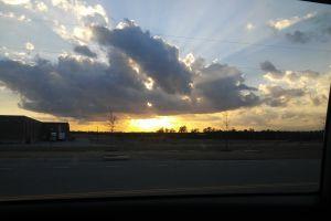 sunset sky clouds light