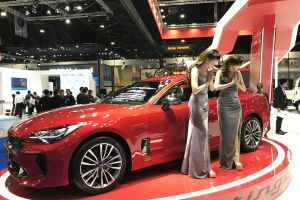 thailand impact exhibition center exhibition center kia stinger automotive automobile red close-up bangkok