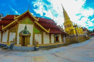 tile buddhist temple culture high relief lee wat phra bat huay tom city asian ethnicity ancient