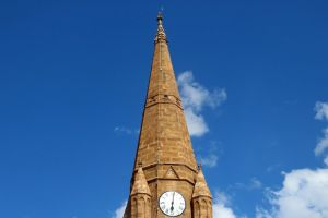 tower blue sky minimalism stone church church design stones architecture nature time