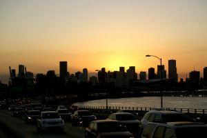 traffic miami city sunset