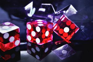 transparent cube las vegas inside glass red interior dice casino reflection