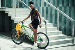 transportation system women fashion wear girl young street stairs fashionable female wheels
