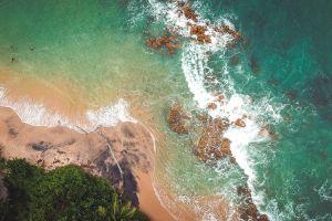 trees daytime rocks water ocean seascape waves nature sea seashore