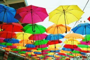 umbrellas colorful color palette