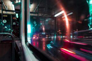 urban bridge illuminated highway motion light street car downtown traffic