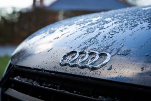 vehicle automobile audi automotive car wet raindrops water