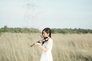 violinist daytime beautiful woman field grass nature photography person violin girl