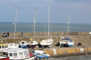 wales newquay harbour boats sea