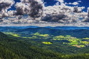 wallpaper clouds panorama hill distant view mood valley forests summer landscape