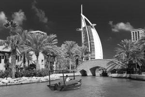 water city united arab emirates burj al arab hotel black and white dubai skycraper urban