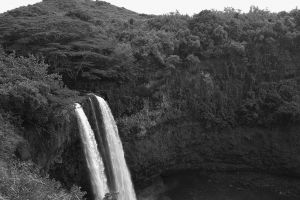 waterfalls flowing flow hill grass mountain fog black and white motion landscape