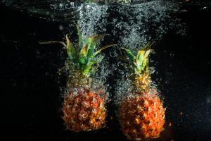 wet pineapple under water fruit
