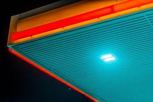 zaktech90 zain ali shell night petrol pump abstract photo nikon 50mm gas station teal and orange