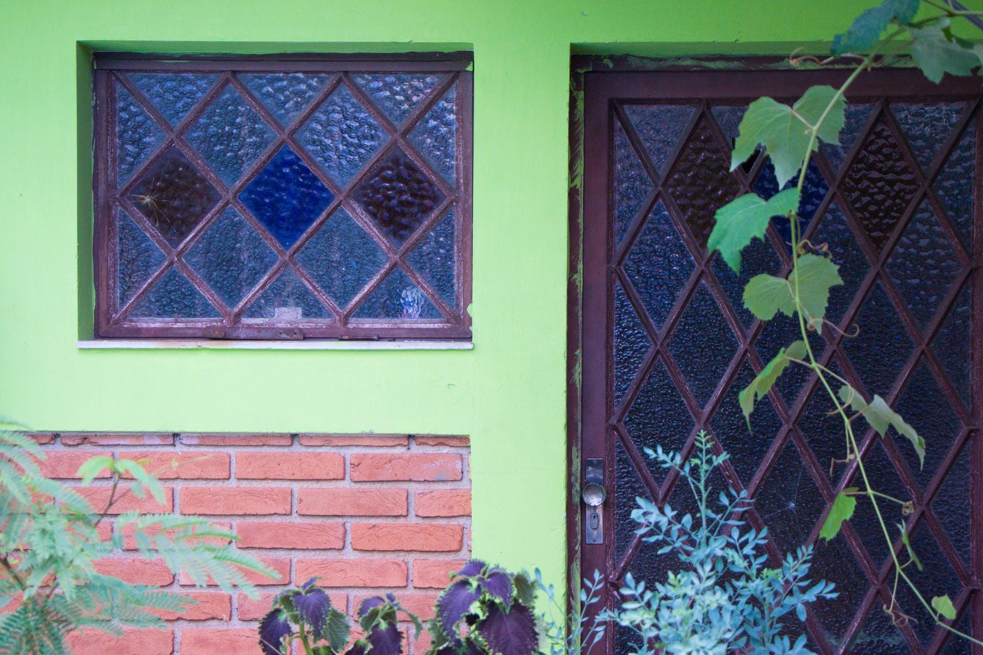 design door flowre green