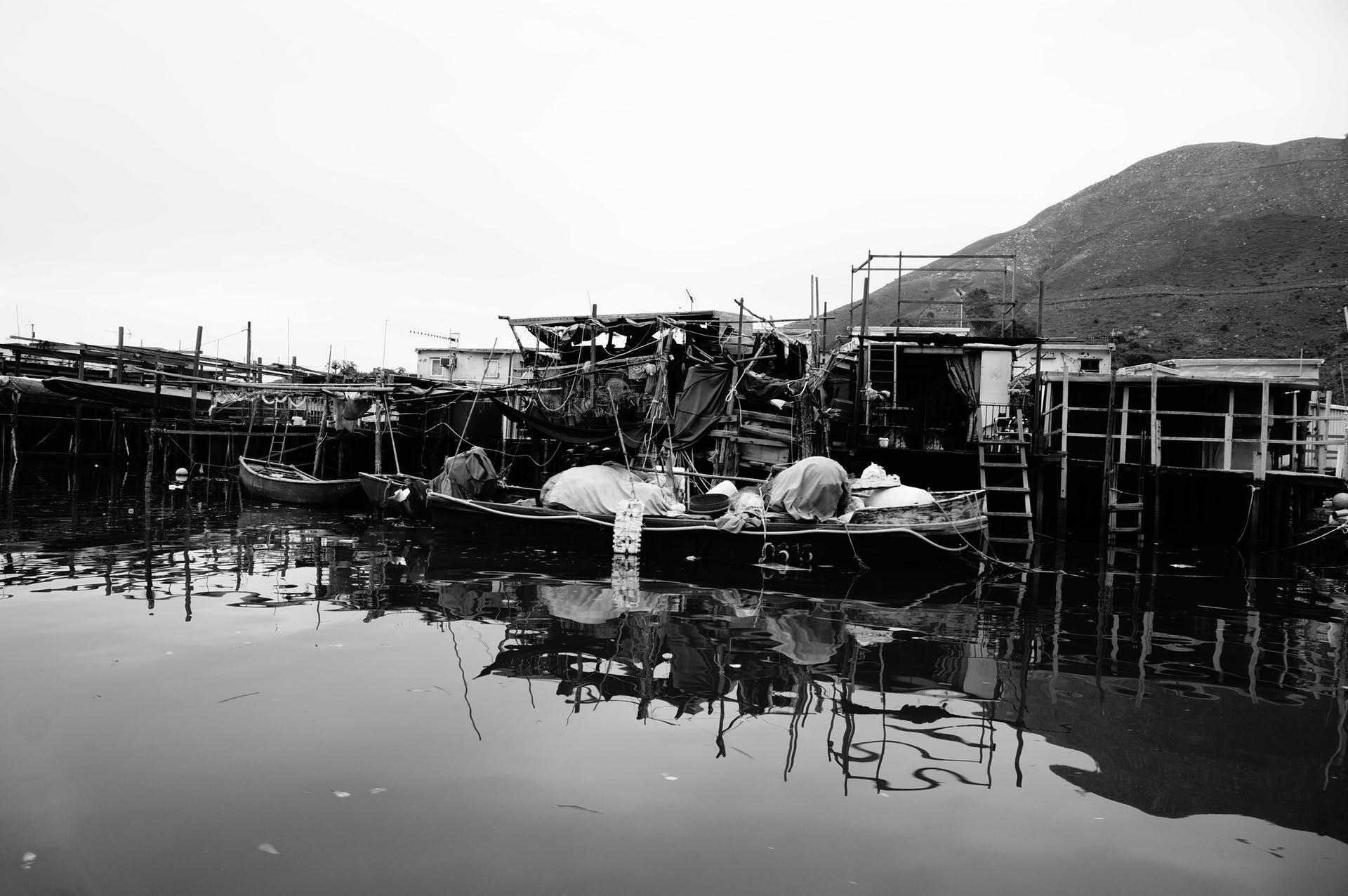fishing village boats free image village mountain black and white stilt houses free photo