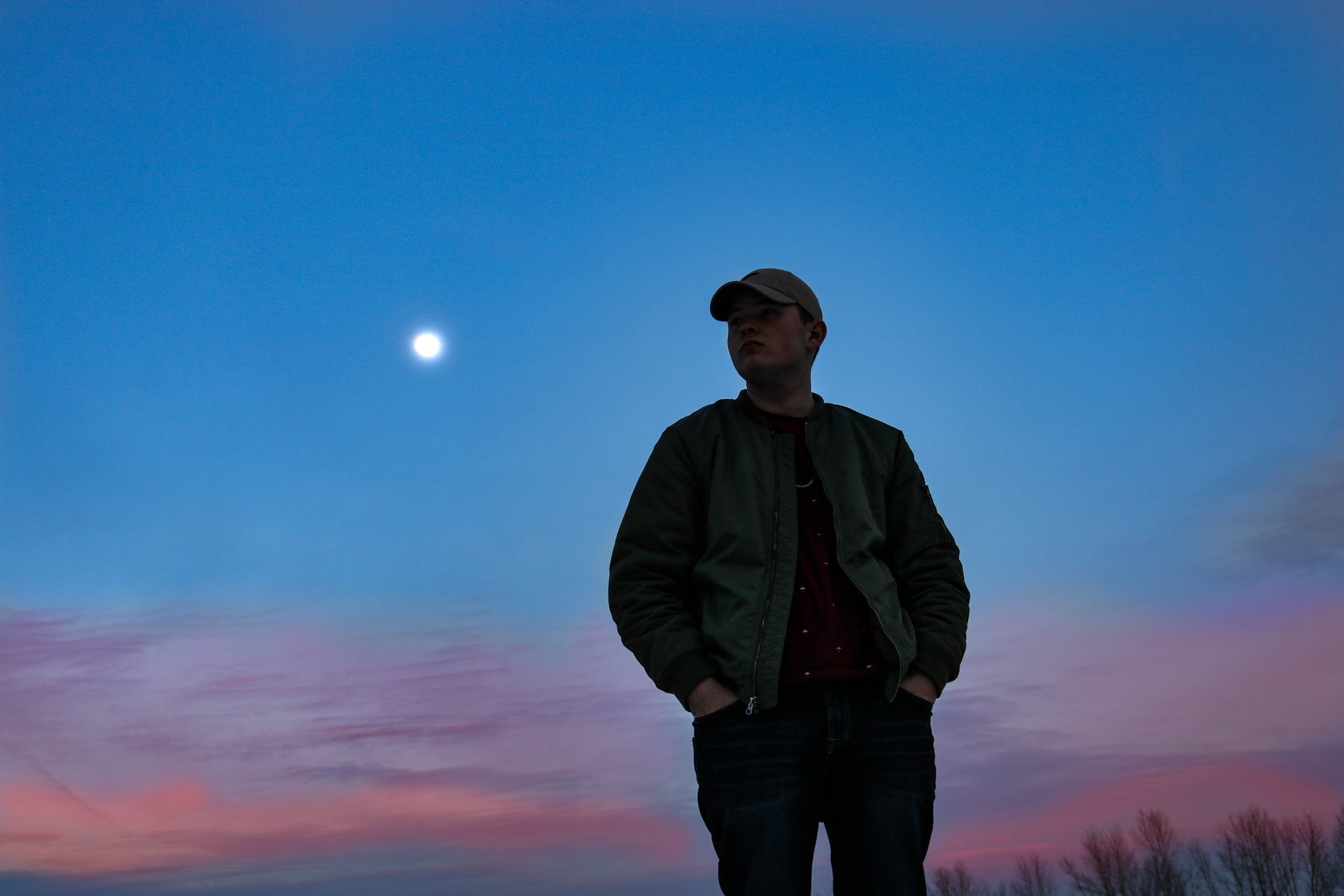 moon scenic evening photoshoot person landscape pose sky clouds man