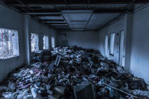 abandoned decay electronics steel waste trash storage room broken abandoned building