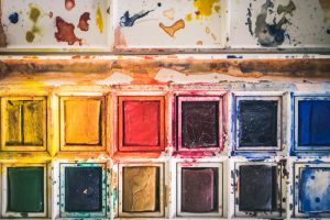 art materials close-up color wall dirty water colors rectangles colorful vibrant mess
