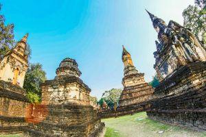 asia exotic wat religion sri satchanalai national park pagoda tourism statue buddhism stupa