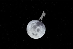 black and white man background stars walking moon onthemoon planet space illustration
