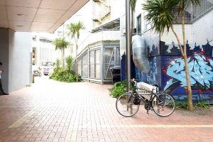 brick grungy empty street model city life solo grunge bicycle street art