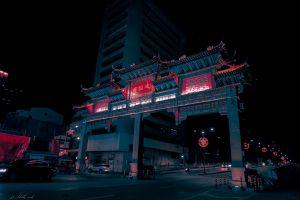 bridge chinese architecture urban city lights architectural design